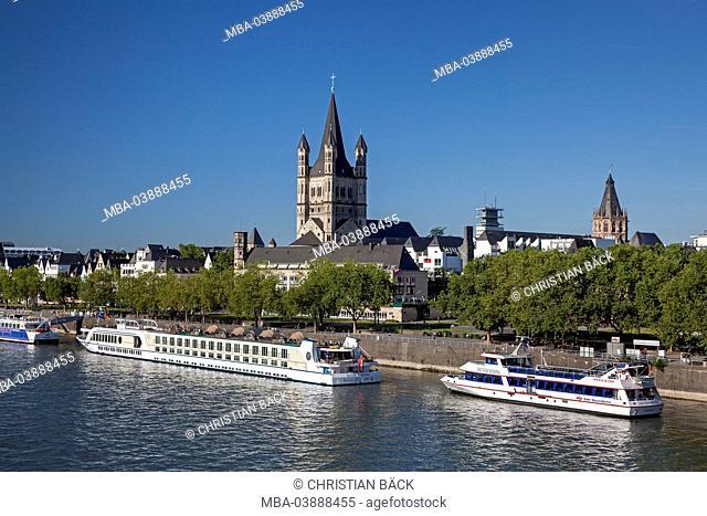Church Groß St. Martin at the Rhine River, Cologne, North Rhine-Westphalia, Germany