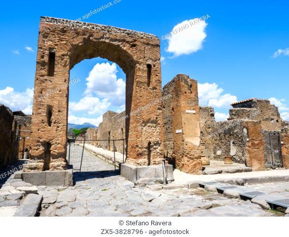 Honorary arch of Caligula - Pompeii archeological site, Italy