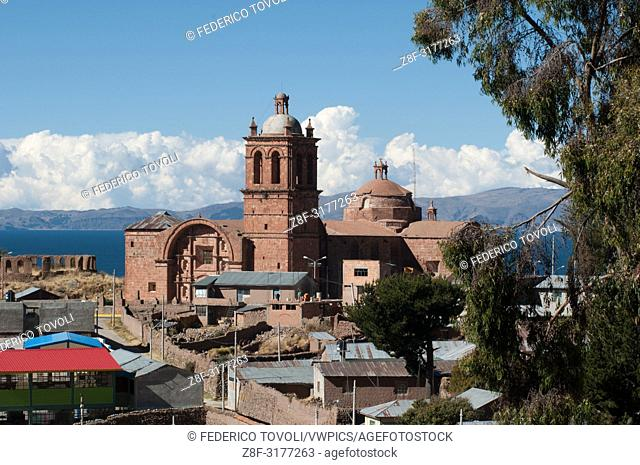 Colonial baroque church of Pomata. Peru