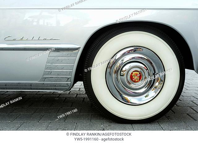 Wheel detail of a 1948 Cadillac Series 62 convertable, American automobile