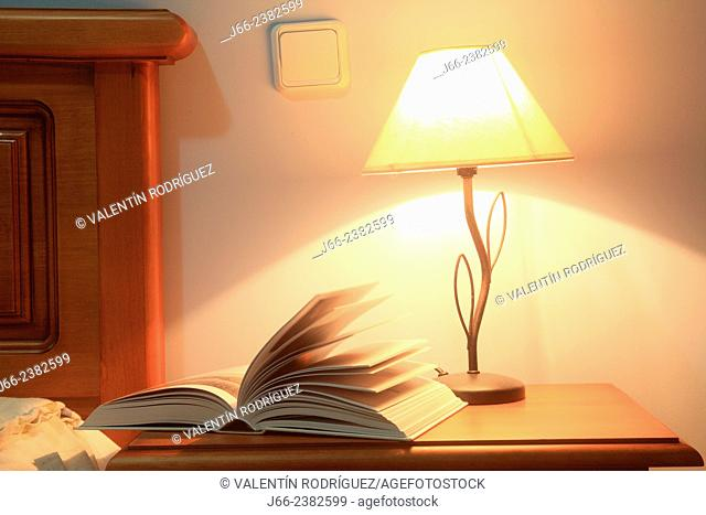 book and lamp on nightstand