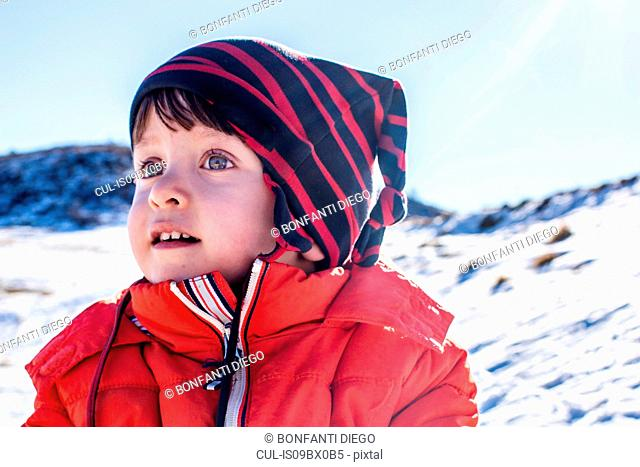 Portrait of toddler boy, Piani Resinelli, Lombardy, Italy