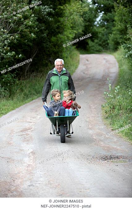Grandfather pushing wheelbarrow with grandchildren