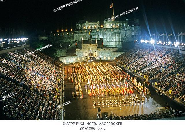 Militarry tatoo festival on the edinburgh castle scotland