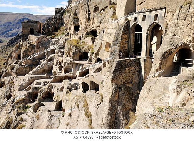 Georgia, The cave city of Vardzia a cave monastery dug into the side of the Erusheli mountain in southern Georgia near Aspindza on the bank of the Mtkvari River...