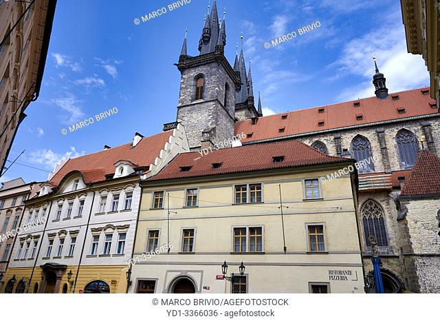 Prague Czech Republic. The Gothic Church of Our Lady before Tyn in Old Town Square