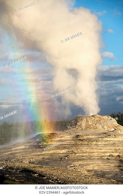 Rainbow seen in the spray from Lion Geyser in the Upper Geyser Basin, Yellowstone National Park