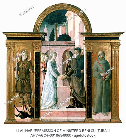 The Visitation and two saints, by Giacomo Pacchiarotti, exhibited at the Picture Gallery, Siena (1489-1540), shot 1994 by Alinari