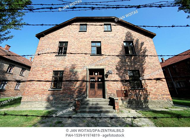 Block 23 in the former Auschwitz concentration camp is being pictured on 26 June 2017. Block 23 and other blocks, all separately blocked with barbed wire