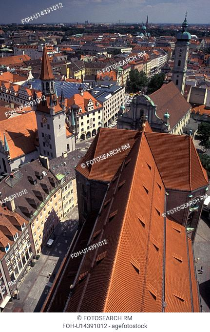 aerial, Munich, Germany, Bavaria, Munchen, Europe, Aerial view of the city of Munich