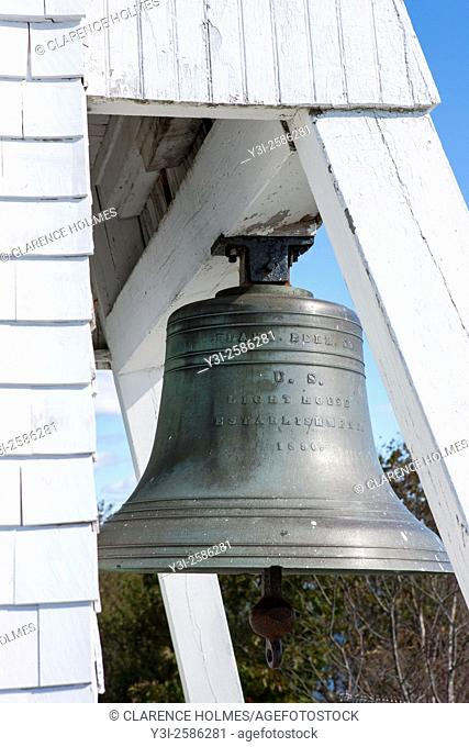 The original fog signal bell at Fort Point Light in Stockton Springs, Maine