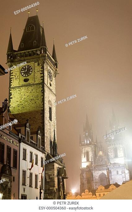 Night Prague fog