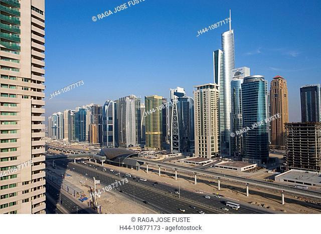 Dubai, United Arab Emirates, Middle East, UAE, skyline, blocks of flats, high-rise buildings, moulder, architecture, Zayed avenue, Almas Tower, traveling