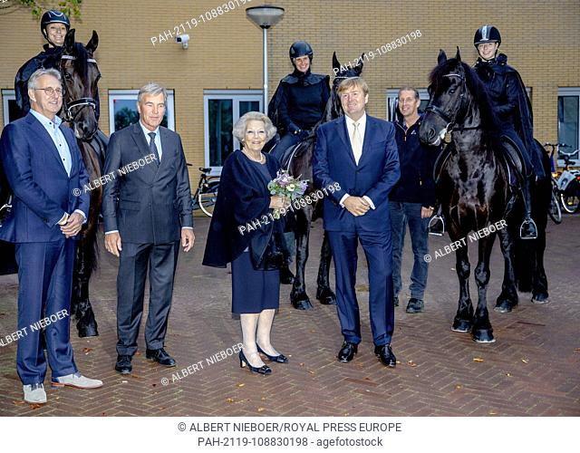 King Willem-Alexander and Princess Beatrix of The Netherlands arrive at the Expo WTC in Leeuwarden, on September 8, 2018