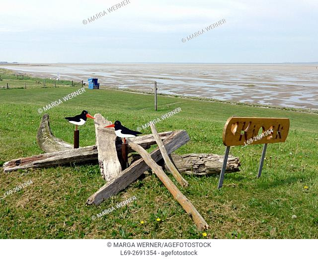 Wooden Oystercatcher with driftwood and sig for a kiosk on Hunnenswarft, Hallig Langeneß, Wadden Sea, North Sea, Schleswig-Holstein, Germany, Europe
