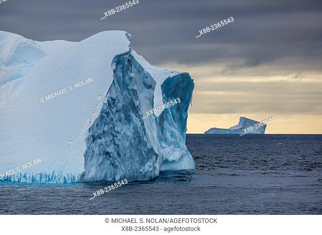 Tabular icebergs in the Weddell Sea off Brown Bluff, Tabarin Peninsula, Antarctica