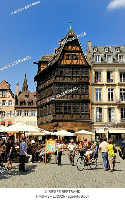 France, Bas Rhin, Strasbourg, old town listed as World Heritage by UNESCO, Place de la Cathedrale, the Maison Kammerzell built in the 15th-16th century