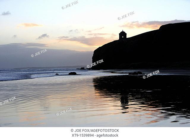 sunrise early morning over mussenden temple and benone beach county derry northern ireland