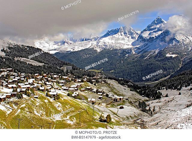 small mountain village of Arosa a ski resort in Switzerland, Switzerland, Alps