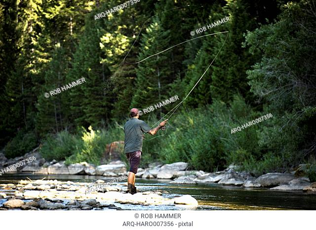 A Man Fly Fishing At The Gros Ventre River In Jackson Hole, Wyoming