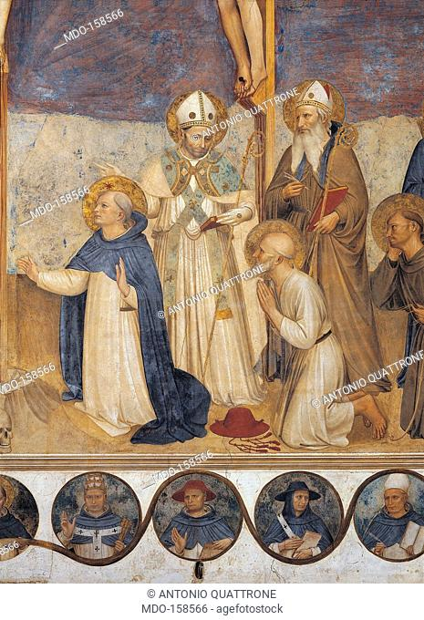 The Crucifixion and Saints, by Guido di Pietro (or Piero) known as Beato Angelico, 1438 - 1446 about, 15th Century, fresco, cm 550 x 950