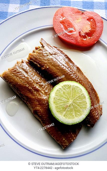 Greek Cuisine, Smoked Makerel Fillets in Olive Oil
