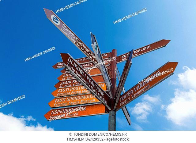 Estonia (Baltic States), Tartu region, Tartu, Town Hall square, Raekoja Square (Raekoja plats), Tourist Signs