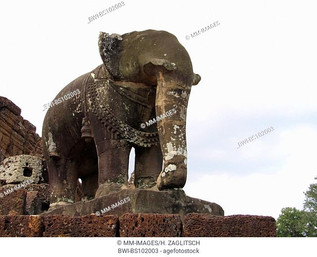 Khmer temple at Angkor, elefant sculpture, Cambodia