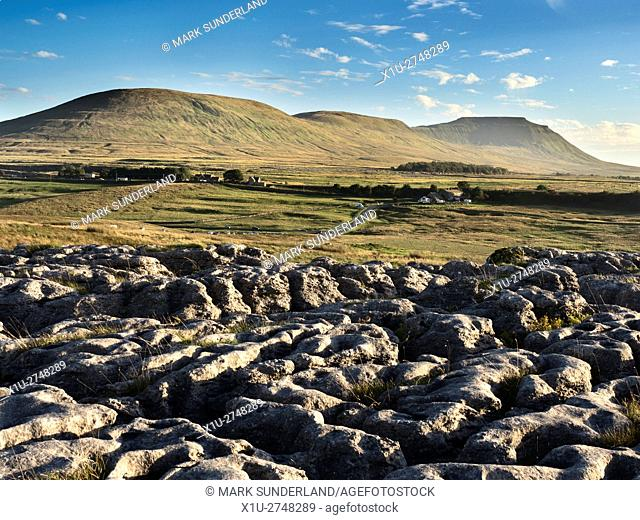 Park Fell Simon fell and Ingleborough from Limestone Pavement at Ribblehead Yorkshire Dales England