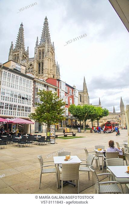 Terrace and view of the cathedral. Burgos, Spain