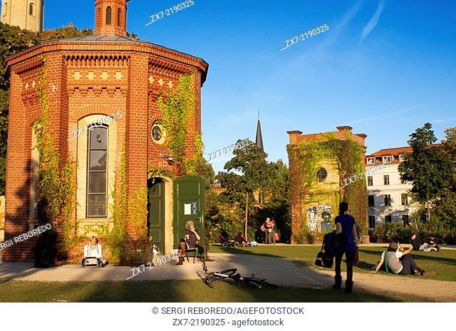 Prenzlauerberg District, garden around the former Wasserturm, 1873 brick water tower converted to an apartment. Wasserturm