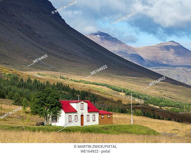 House in valley Skidadalur near Dalvik. europe, northern europe, iceland, september