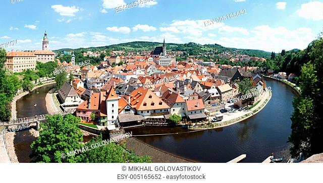 Panorama of the historical part of Cesky Krumlov