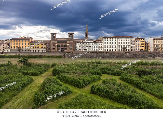 The Terzo Giardino overlooking the River Arno, looking towards the Central National Library of Florence (Biblioteca Nazionale Centrale di Firenze, San Nicola