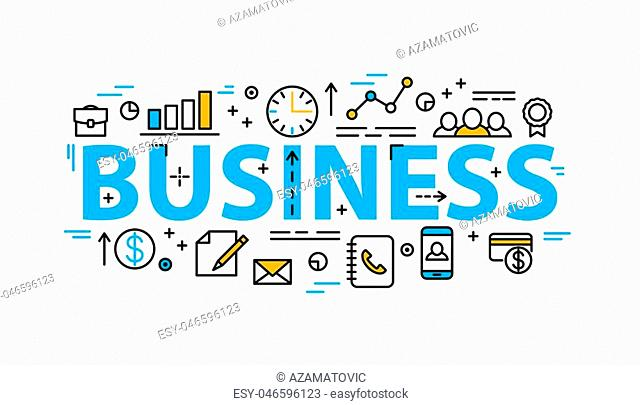 Business word flat style banner with thin line icons. Concept design background