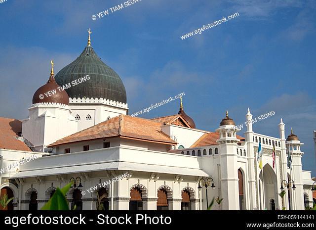 Architecture Masjid Kapitan Keling in blue sunny day