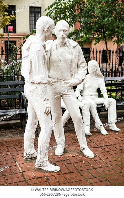 USA, New York, New York City, Lower Manhattan, Greenwich Village, Sheridan Square, Gay Liberation Monument by George Segal