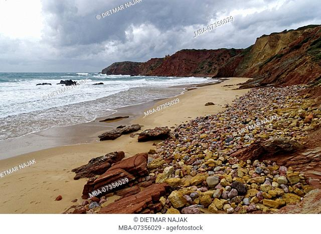 Praia do Armado not far from the small fishing village of Carrapateira on the wild rocky coast on the Atlantic Ocean