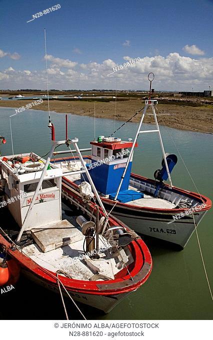 Boats at fishing port, Sancti Petri, Chiclana de la Frontera, Cadiz province, Andalusia, Spain