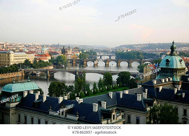 View of the River Vltava and bridges from Letna hill, Prague, Czech Republic