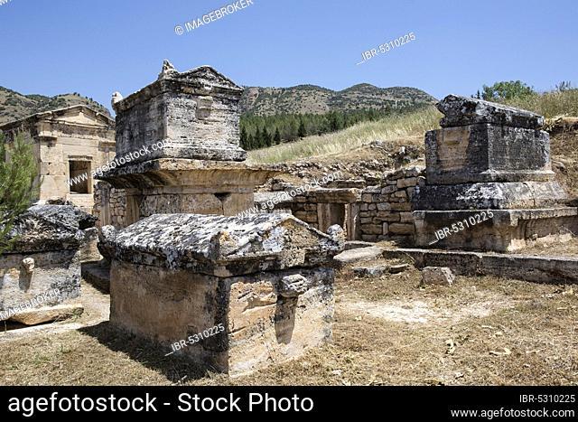 Tomb in the northern necropolis of Hierapolis, Denizli, Turkey. Hierapolis was an ancient Greco-Roman city in Phrygia