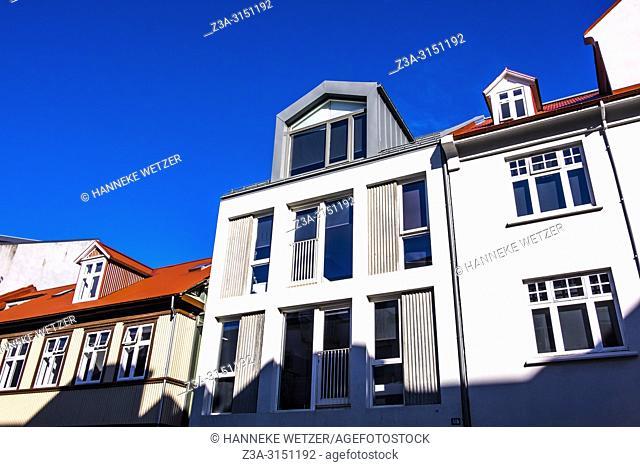 Modern houses in Reykjavik city center, Iceland
