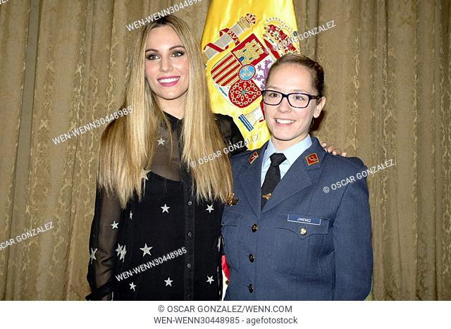 Edurne (left) at the launch of the Solidarity calendar, made in collaboration with the Spanish Air Force, in Madrid, Spain