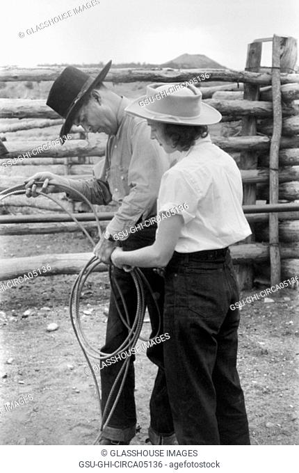 Learning how to Throw a Rope during Ranch Rodeo Contest, Brewster Arnold Quarter Circle U Ranch, Birney, Montana, USA, Arthur Rothstein