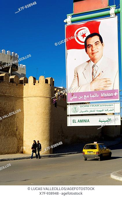 Tunez: Kairouan  Walls of the medina, and portrait of president Zine El-Abidine Ben Ali