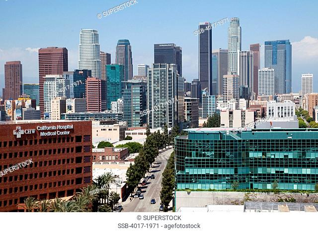 Downtown Los Angeles Skyline with California Hospital Medical Center in foreground
