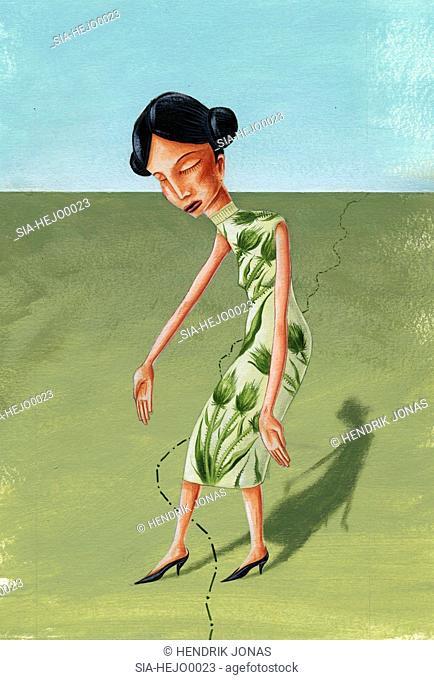 Portrait of woman bending down
