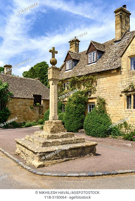 Stanton Village Cross & Sundial, Cotswolds Village, UK