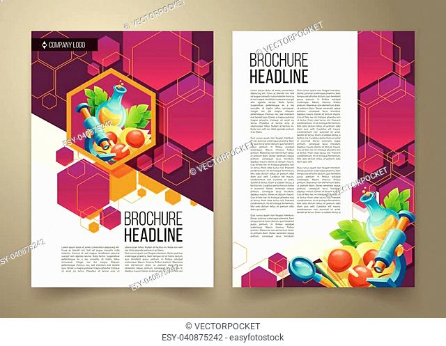 Vector flyer, power point presentation template, cover design of the companys annual business report, scientific report. Advertising brochure