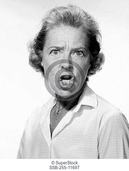 Portrait of a mature woman shouting